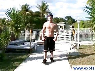 Boyfriend takes a shower before a blowjob