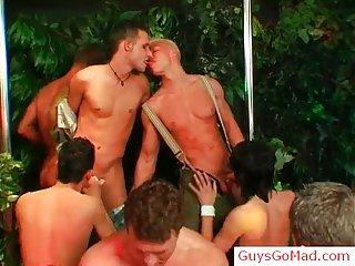 Group of horny drunk guys suck