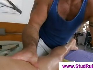 Gay masseur anals straight guy with glass dildo