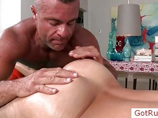 Sexy massage pro rimming his client