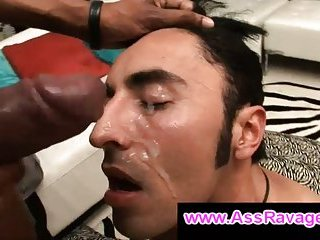 Black bro ass fucks hairy gay guy and cums on his face