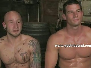 Ear ringed sexy hunk tied at the ranch
