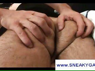 Gay freak seduces bald rommate who gives him head