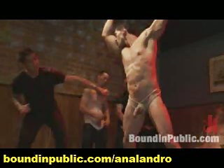 Latin Stripper Bound and Public Anal Gangbanged in a Bar