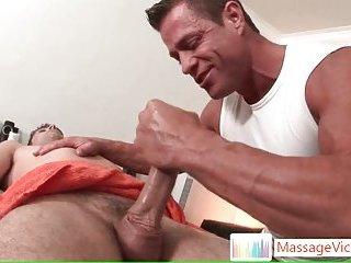Tattooed hunk Jason Crew gets massaged