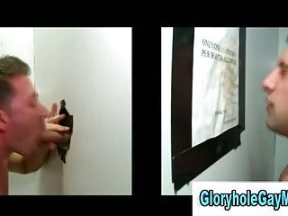 Amateur gay guy gives straight guy blowjob in reality gloryhole