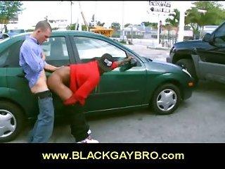 Guy fucks black gay bro outdoor in interracial gay scene