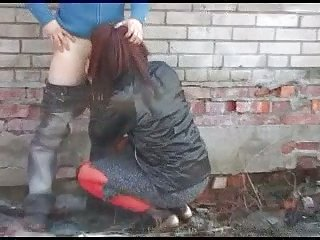 Filthy CD Gets Threeway Fuck Outdoor