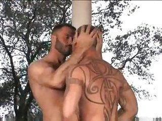 Horny guys in tats outdoor screwing