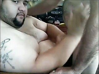 Fat guy gets handjob & blowjob
