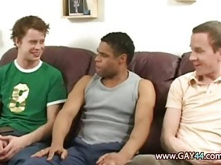 Three guys in interracial threesome