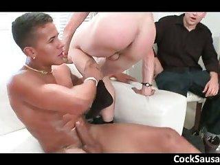 Huge gay sucking and fucking gangbang