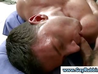 Straight guy fucks and gives gay hunk a facial after massage