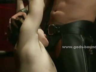 Teen gay sex slave fucked in rough bondage sex by fetish master