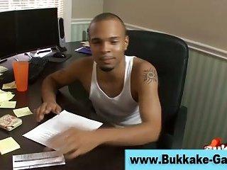 Gay bukkake guy gangbang group
