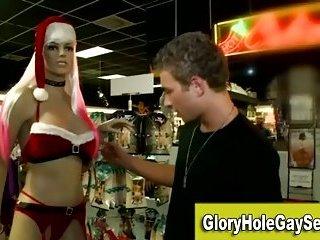 Gay straight gloryhole blowjob