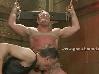 Rough wild gay man bondage total sex
