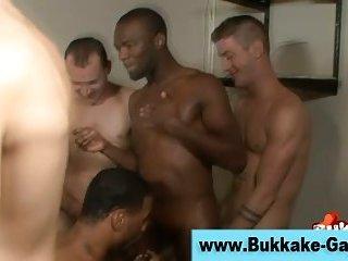 Gay black stud bukkake gangbang facial