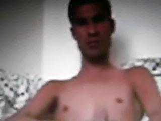 Arab guy jerking his huge dick on cam