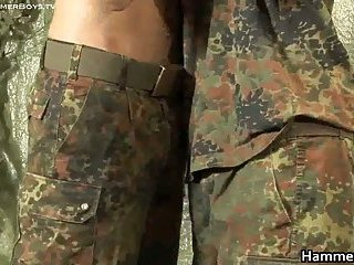 Hairy soldier jerking his hard jizzster 3