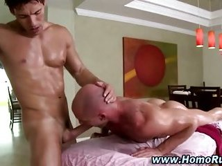 Gay straight oil massage cock sucking