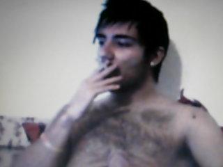 Hairy arab guy jerking on cam