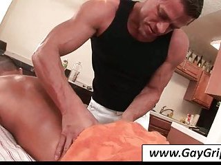 Nice bodied gay gets massaged