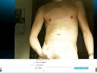 Naked bisexual Basje shoots a lot messy cum on his body on cam
