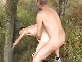 Mature Stud Banging Younger Guy Outdoor