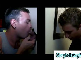 Amateur gay guy sucks straight guys cock in reality gloryhole