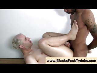 Thirsty interracial twink gets a cumshot