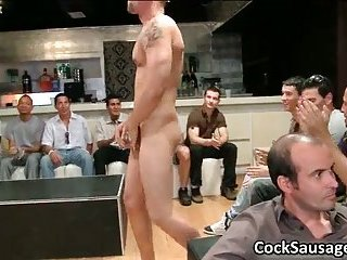 Bunch of drunk dudes go pleasure in club 6