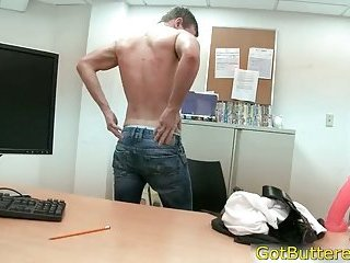Guy gets naked in office