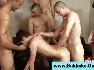 Gay bukkake fuck suck and cum facial