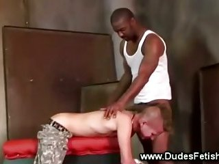 Black guy spanks white with his thick cock