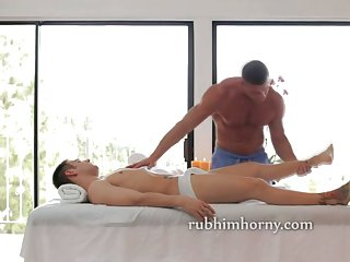 Oiled body hot massage and a handjob