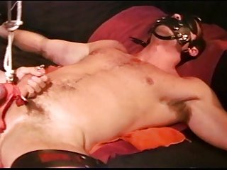 CBT Asian muscle pounds sub with a dildo