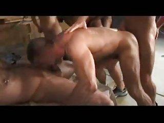 Interracial muscle hunks bareback orgia