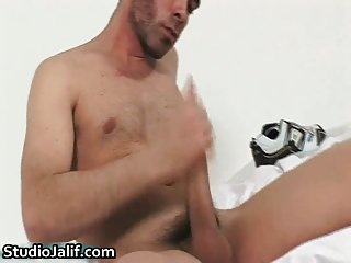 Hunki Edu Marin masturbating his gay jizzster gay porn
