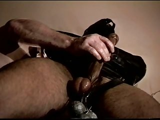 CBT HUNG man in bondage and ball weights