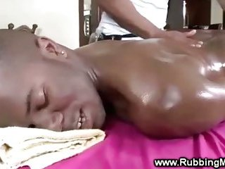 Ebony swells hard during sexy massage