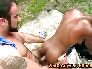 Huge muscular gay interracial cumshot