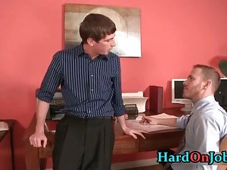Drew and Jayden having some gay sucking fun in the office