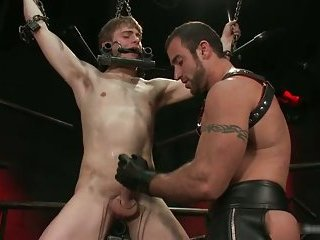 Noah gets strung up and tortured gay BDSM 2