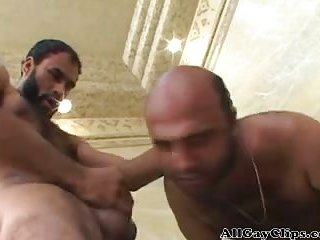 Muscle bear trio and ass cumshot