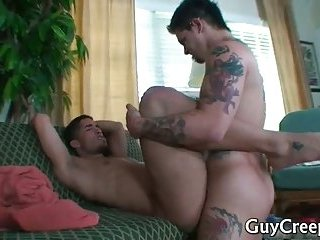 Tattooed Hunk Gets Jizzed All Over While Sleeping