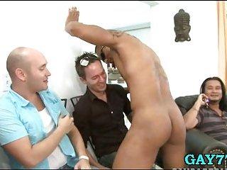 Stripper cumming on him