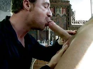 Guys having hot sex on table