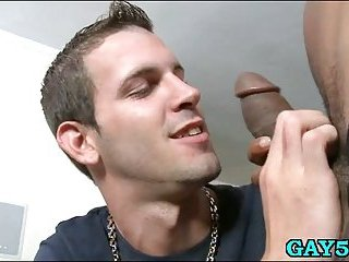His mouth is not enough for this monster cock