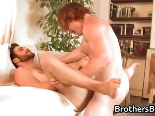 Brothers sexy boyfriend gets cock sucked ass fucked